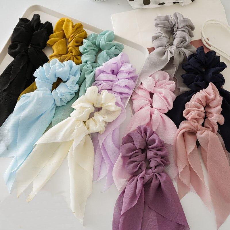 Cetim de seda cor sólida laços de cabelo chiffon arco streamers faixas de cabelo elástico feminino luxo macio acessórios para o cabelo titular rabo de cavalo