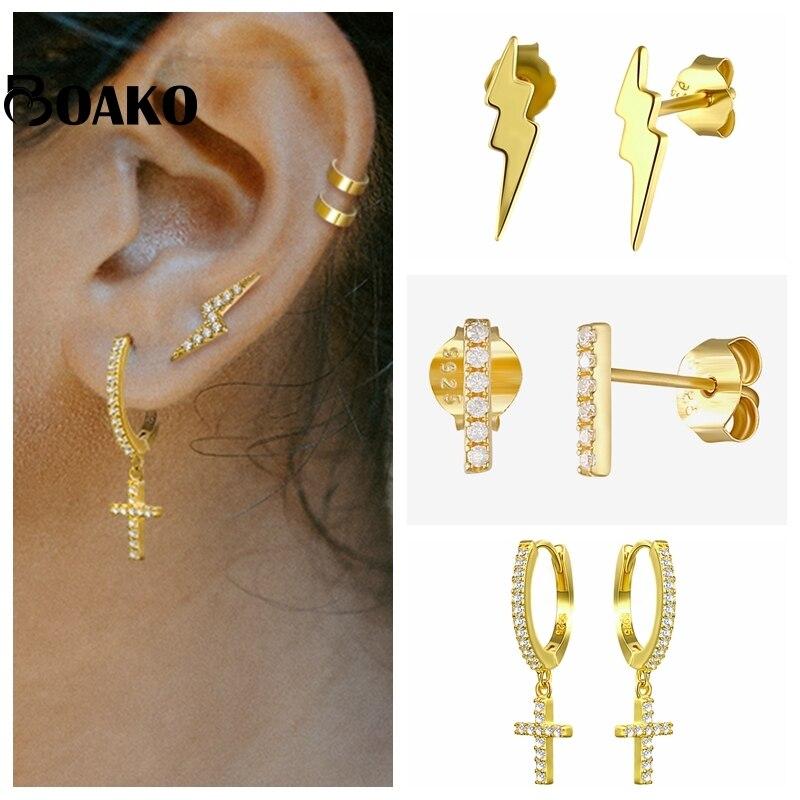 AliExpress - 925 Sterling Silver Earrings For Women Gold Small Hoop Earrings Girl Ear Bone Earring Zircon Lightning Evil Eye aretes