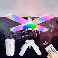 Светодиодная музыкальная лампа с четырьмя листьями, цветная Складная Лампа с функцией умного звука и пультом дистанционного управления, де...