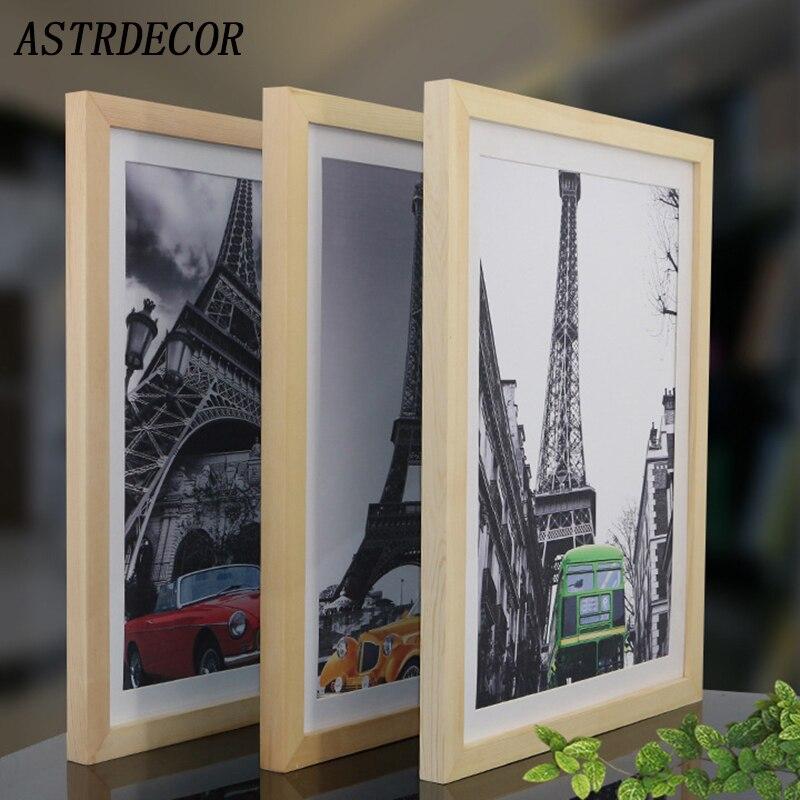 Marco de madera ASTRDECOR A4 A3 negro blanco madera natural marco de fotos sólido con alfombrillas para montaje en pared Hardware incluido