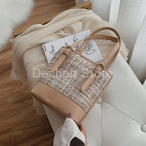 Elegant Female Tote Bucket Bag 2020 Fashion New High Quality Wool Women's Designer Handbag Casual Shoulder Messenger Bag Bolsa
