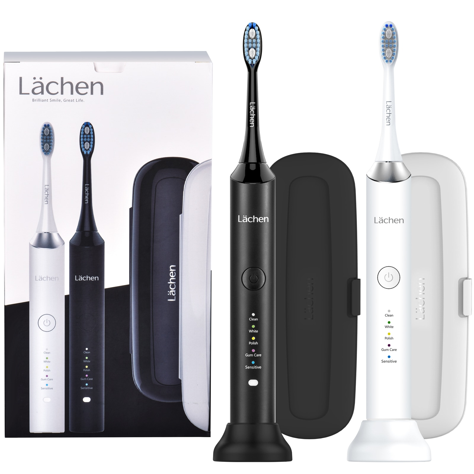 Lachen Double Sonic Electric Toothbrush H9 Adult Timer 5 Mode USB Rechargeable Tooth 10 Replacement Brush Heads 2 Travle Case enlarge