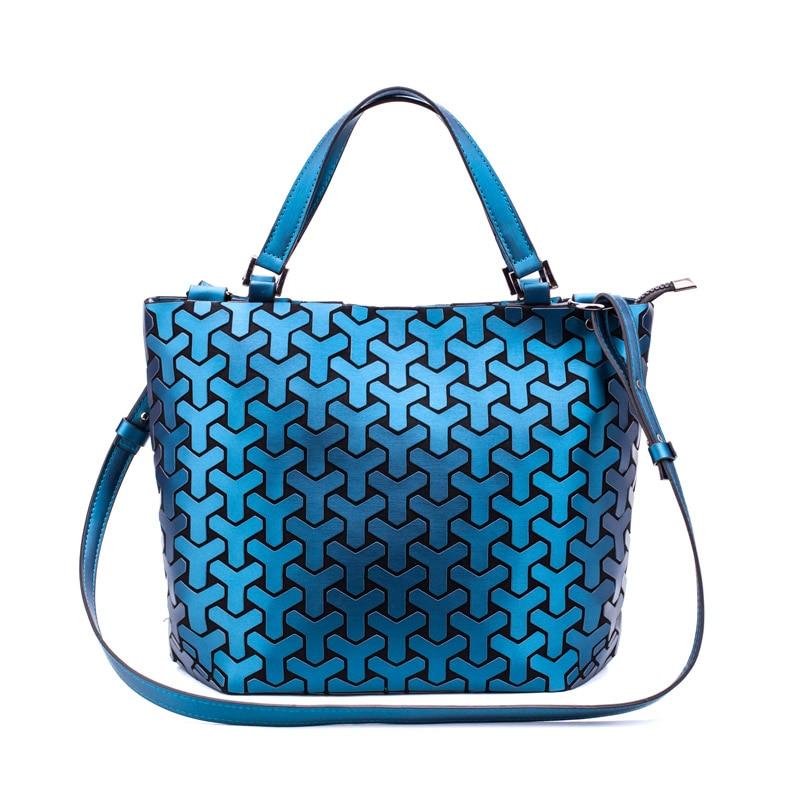 Bolsos de hombro de moda para mujer bolso de cubo geométrico para mujer bolsos plegables lisos bolsos luminosos bolso de mano Casual de PU bolso Bao Bolsas