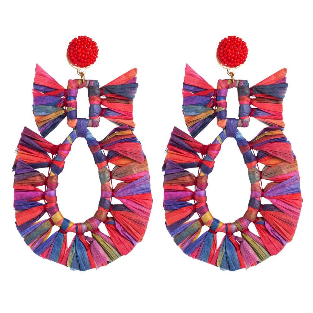 HC bohemio colorido borla larga pendientes a la moda geométricos declaración ambiental pendientes colgantes mujeres Femme fiesta joyería F