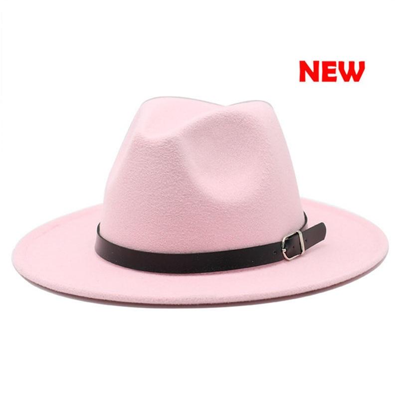 Black Belt Adjustable Fashion Men Women Wide Brim Black White Dress Hat Wool Felt Hat Fashion Party