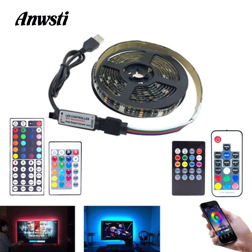USB Tira de LED RGB SMD 5050 5V resistente al agua de música Bluetooth LED Tira de luz Fita Tira USB cinta TV retroiluminación Flex iluminación