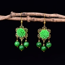 Chinese Flowers Drop Earrings For Women Green Jewelry Handmade Dangle Earrings Bead Accessories Part
