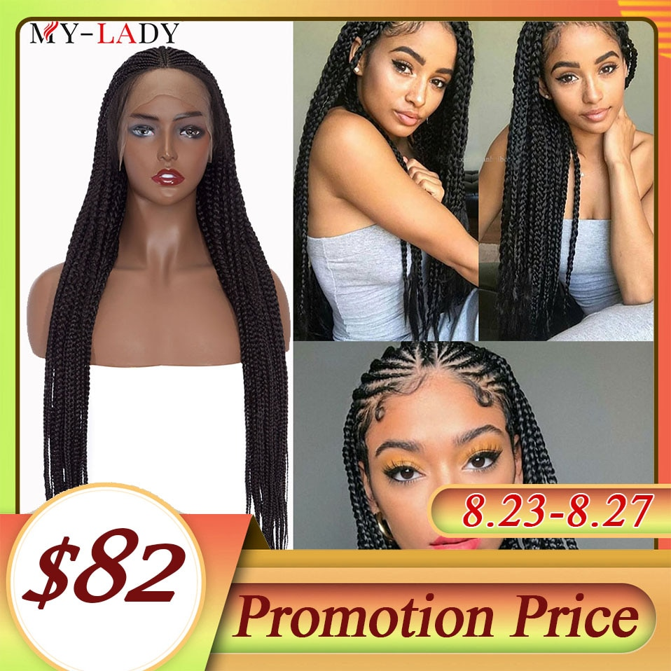 My-Lady 36inch Box Braided Lace Front Wig Synthetic Long BlackLace Frontal Braided Wig With Baby Hair Afro Wig For Black Women