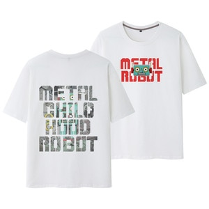 Cartoon Robot Printed Black White Couple Women Men Short Sleeve Tees Beach T Shirts Cotton Japanese Streetwear Oversized 8XL