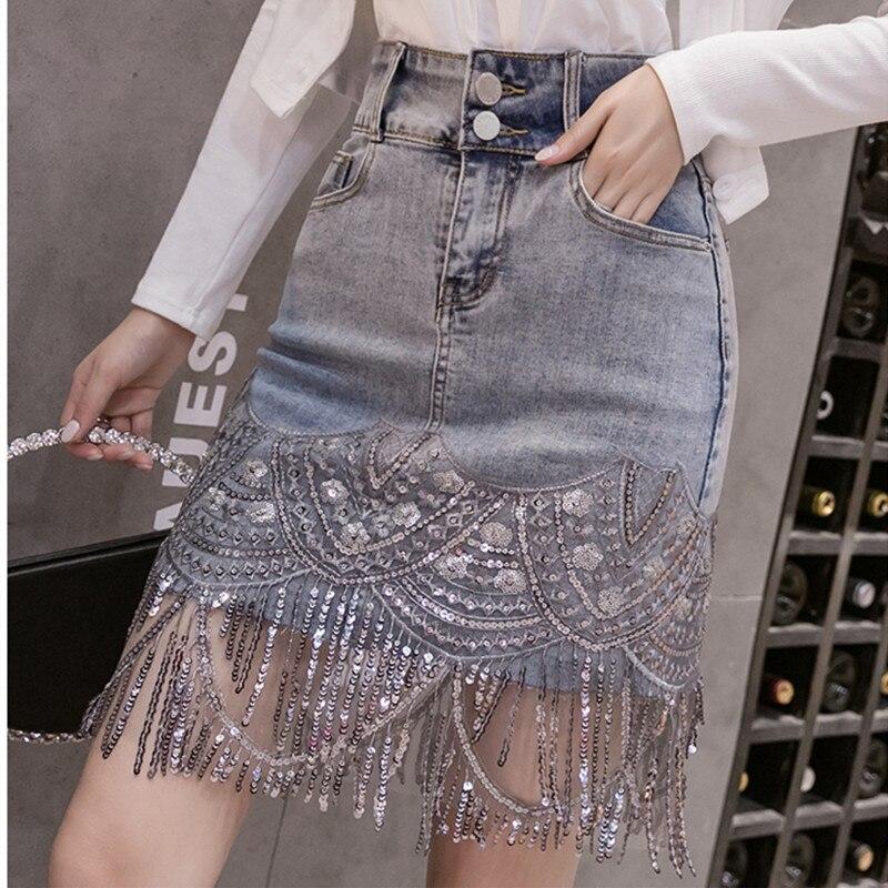 Pantalones Cortos Mujer 2020 Summer Streetwear Shorts Women Hand-studded Diamond Tassels Chain Light Blue Denim Shorts