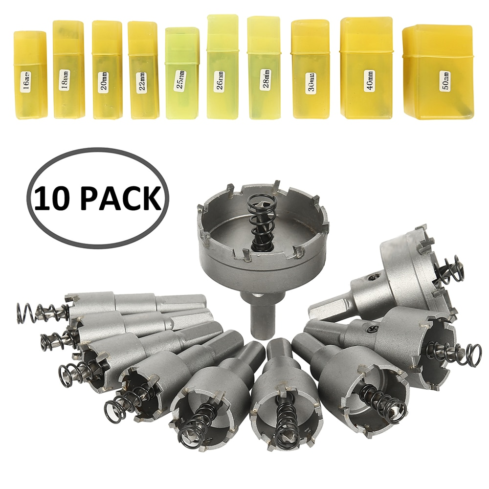10pcs 16-50mm HSS Hole Saw Drills Bit Cutter for Stainless Steel Plate Iron Drilling Alloy Metal Cutting Tungsten Steel Hole Saw