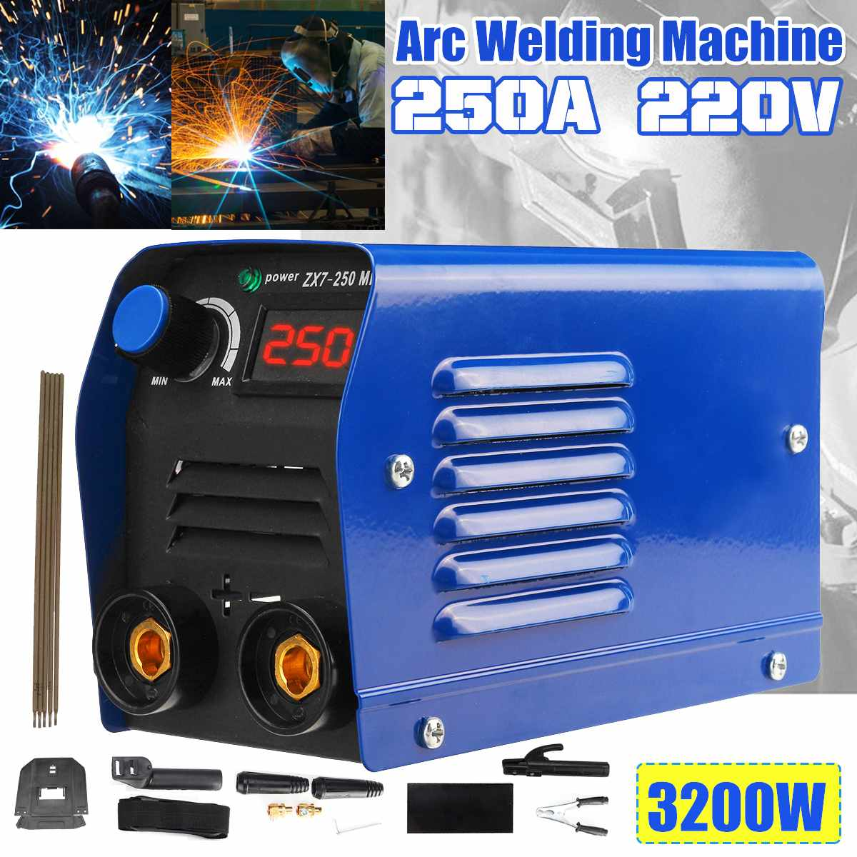 ZX7-250 Arc Welding Machine DC 220V250A Household Pure Copper Portable Welding inverter Electricity welderg tool welder machine