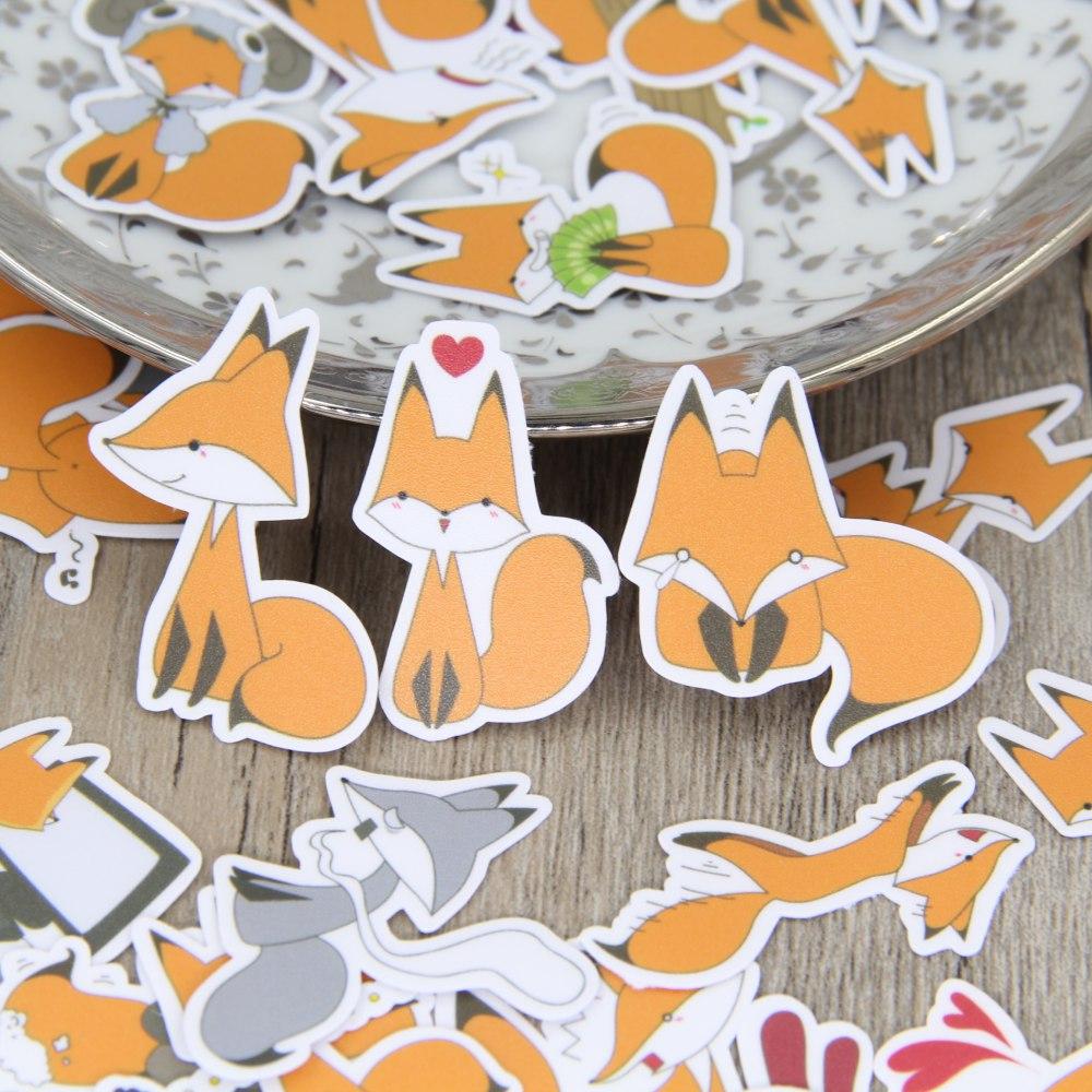 40PCS bonitinho fox Adesivos Artesanato E Scrapbooking livro adesivos etiqueta adesivos Decorativos DIY Papelaria Estudante