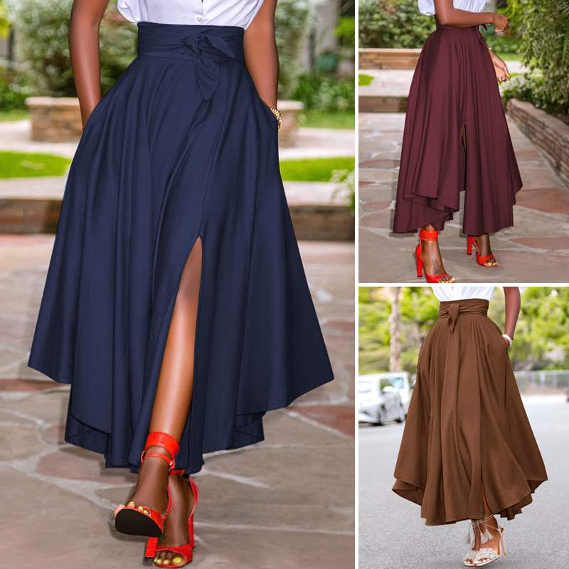 ZANZEA Women Skirts Summer Vintage Zipper Long Maxi Skirts High Waist A-line Skirt Solid Irregular Beach Skirt Faldas Saia S-5XL beach maxi long skirt zanzea summer zipper skirts women elegant solid skirts bohemian skirt jupe female faldas saia oversized