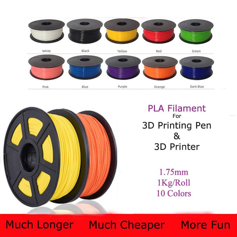 خيوط PLA في 1.75 مللي متر/1 كجم للطباعة ثلاثية الأبعاد القلم أفضل بائع من ملحقات طابعة ثلاثية الأبعاد 10 لفات 10 ألوان 330 متر خيوط بلاستيكية