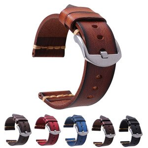 Classic Vintage Genuine Leather Watch Band for Galaxy Gear S3 Watch Handmade Strap 18/20/22/24/26mm Pin Buckle Wrist Bracelets