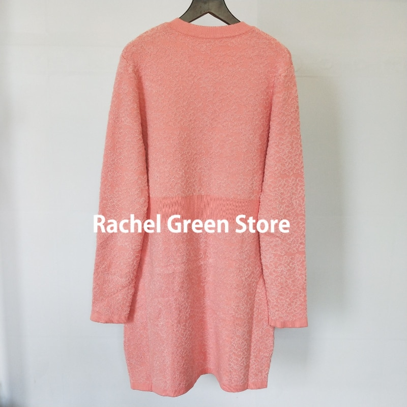 luxury designer women runway high end sweaters long sleeve pink wool blended Gold letter Logo Buttons knitted sweater Cardigan enlarge