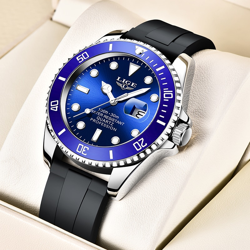 2021 New LIGE Top Brand Luxury Mens Watches Fashion 30M Waterproof Quartz Wristwatch For Men Sport S