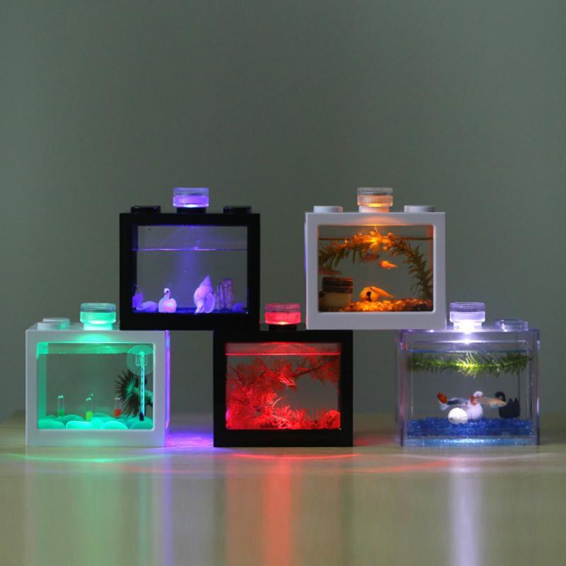 Pequeño cilindro de Acuario, accesorios de cilindro ecológico, luces decorativas para paisajismo, lámpara LED de Micro paisaje