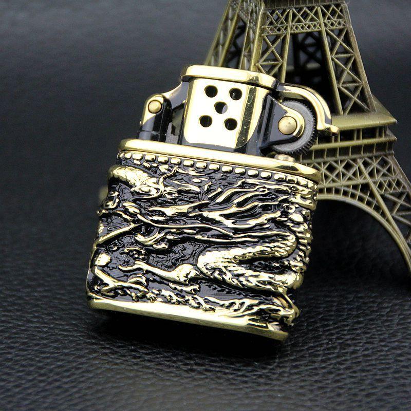 Shenlong dorado Negro carcasa de cobre puro Vintage mechero de queroseno humo...