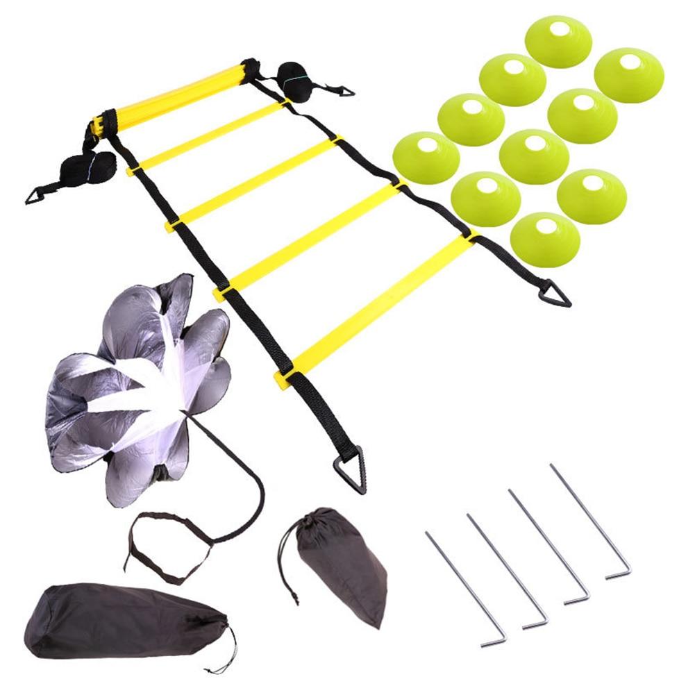 Correas de Nylon escaleras velocidad de agilidad escalera equipo de entrenamiento con resistencia paracaídas disco conos bolsas para Fitness fútbol