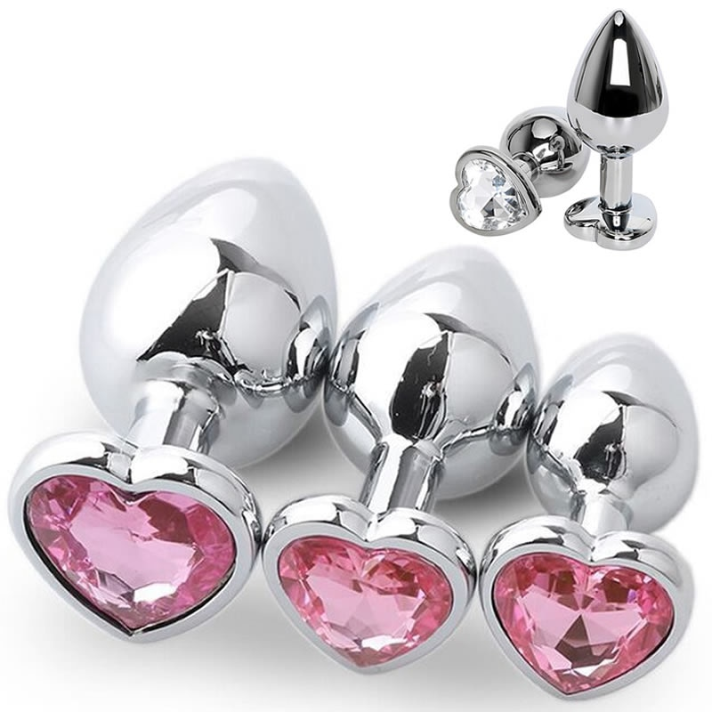 3 Size Anal Plug Heart Stainless Steel Crystal Anal Plug Removable Butt Plug Stimulator Anal  Toys Prostate Massager Dildo