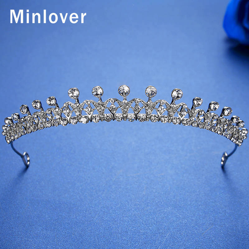 diadema de corona Coronas de Tiaras de novia con diamantes de imitación para mujer novia accesorios para el cabello de princesa diadema adornos para el cabello HG168