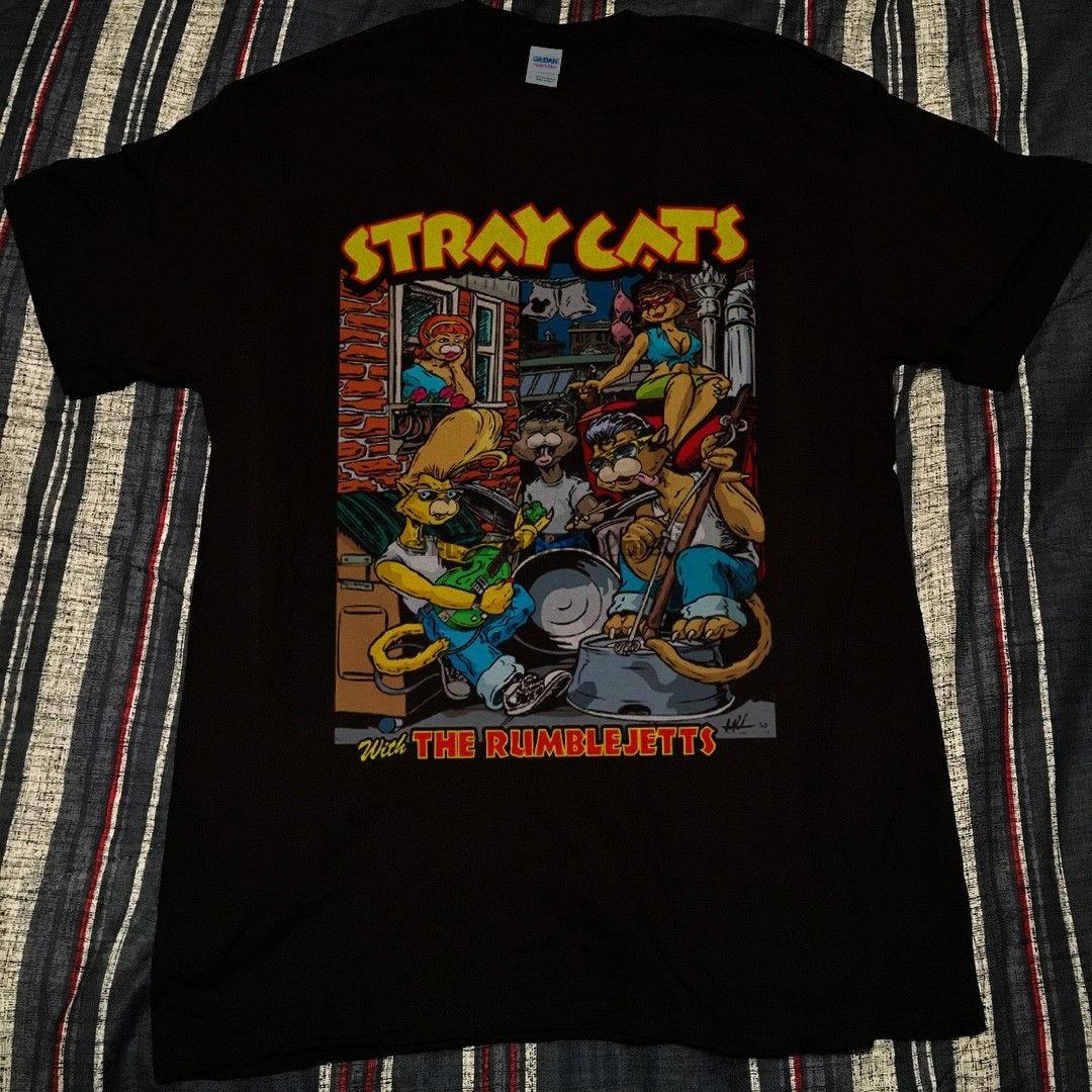 Camiseta vintage gatos vadios com o rumblejetts broadway uptown theater reprint