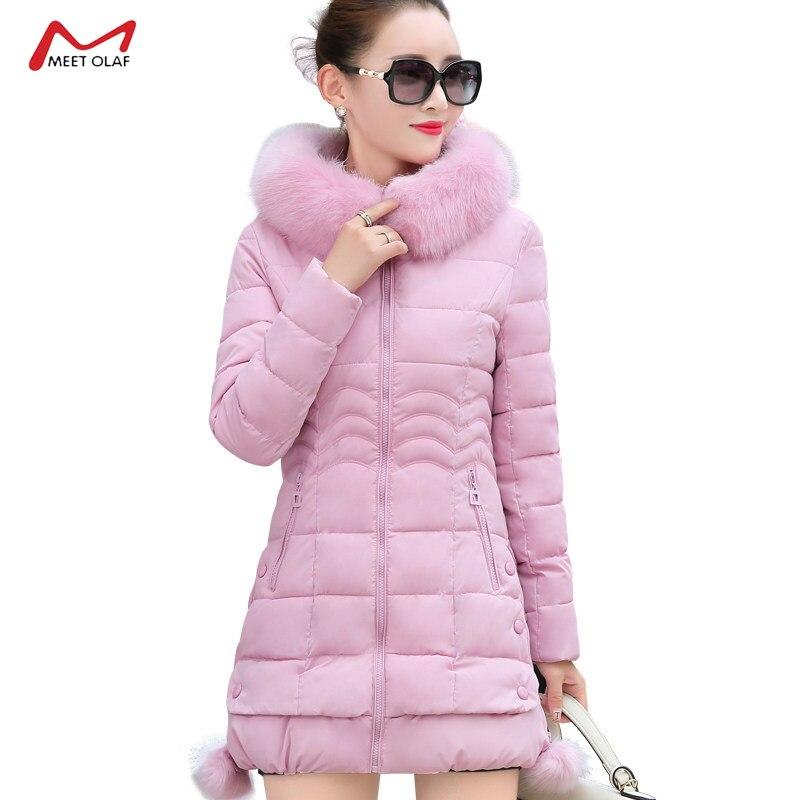 2019 invierno nueva moda mujer cuello de lana de algodón acolchado abrigo femenino grueso con capucha ropa de abrigo talla grande CA3286