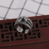 retro creativity double head snake ring ancient silver color opening adjustable ring street hip hop men and women gothic jewelry
