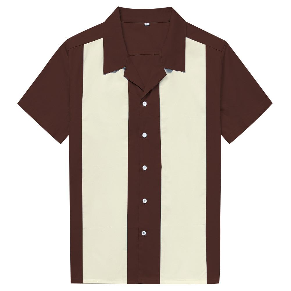 الرجال قميص قصير الأكمام الصيف روكابيلي البولينج القطن قمصان غير رسمية الرجال قميص خمر مطبوعة الربط Camisa الذكور S-3XL