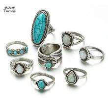 Tocona 8 sztuk/zestaw Vintage antyczny zielony kamienny pierścień zestaw dla kobiet srebrny jasny kolor kryształ czeski Party biżuteria hurtowych 6225