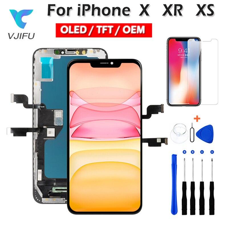 Оригинальный OLED ЖК-дисплей для iPhone 10 X XR XS Max Замена экрана Incell TFT с 3D сенсорным дигитайзером в сборе без битых пикселей