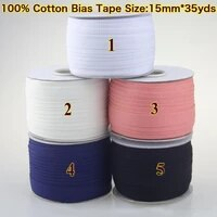 cotton bias tape size 15mm 32meterslot white for diy making garment accessories tailors material for home textile