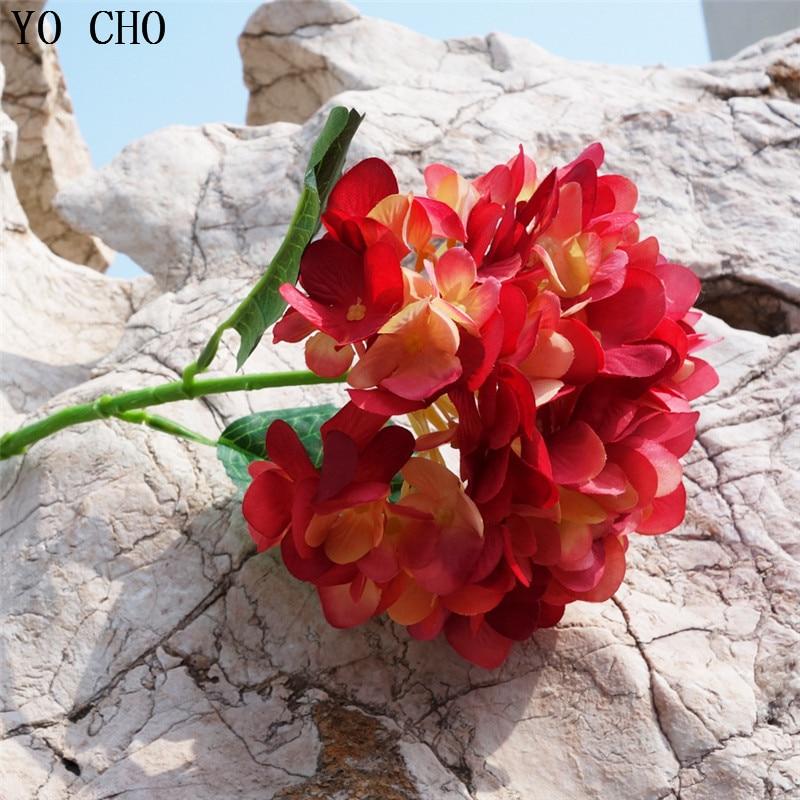 YO CHO Gefälschte Hortensien Blume Künstliche Seide Hortensien Blume Zweig Home Party Prom Decor DIY Bouquet Hochzeit Planer Liefert