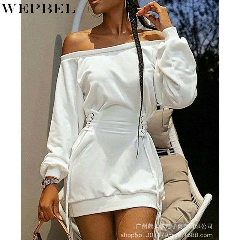 off shoulder self tie waist dress WEPBEL Fashion Lantern Sleeve Dress Women's Off Shoulder Solid Color Dress Autumn Slash Neck Slim High Waist Bandage Dress