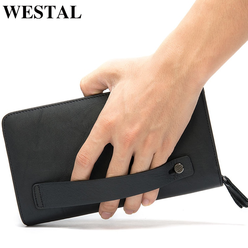 WESTAL Men's Wallet Genuine Leather Clutch Male Men's Clutch Bag Double Zip Wallet Leather Men Long