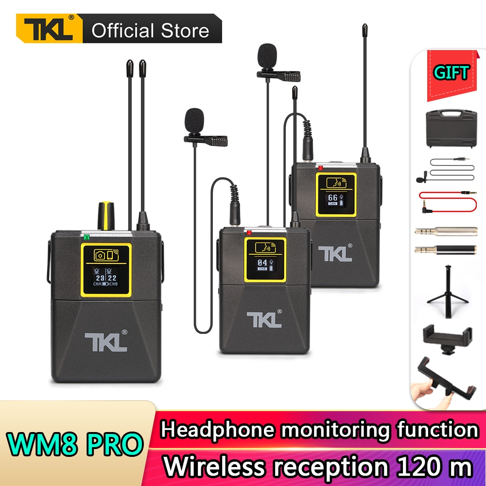 UHF Wireless Lavalier Microphone 100 Channel Lapel Microphone For Phone Video SLR Camera Recording Live Interview TKL PRO WM-8 xtuga wireless lavalier microphone professional uhf camera microphone with 30 selectable channels for slr camera dv camcorder