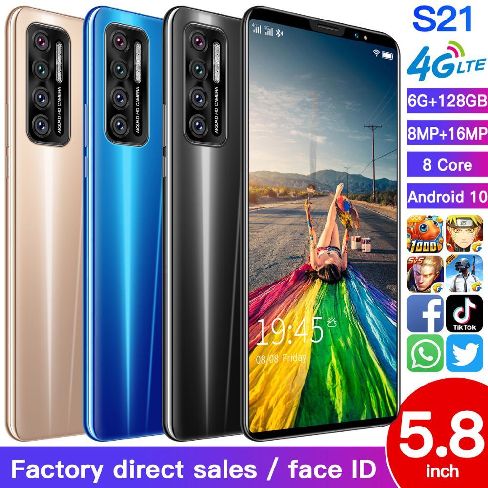 New S21 6+128GB Face ID 8 Core Andriod Smart Phone 5.8 Inch 4500mAh Dual SIM+Micro SD Card Global 4G Mobile Phone MTK6895
