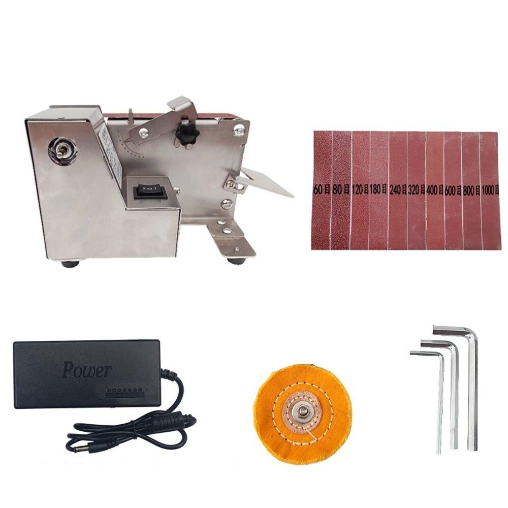 التيار المتناوب 100-240 فولت شريط سنفرة صغير ساندر المنزلية الكهربائية آلة تلميع سطح المكتب الرملي آلة زاوية ثابتة سكين مبراة