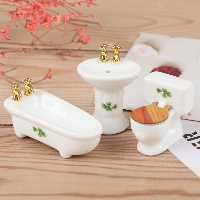 1Set(3pcs) 1/24 Dollhouse Miniature Bathroom Set Ceramic Bathtub Toilet for Dolls House Furniture Play Toy 3Styles