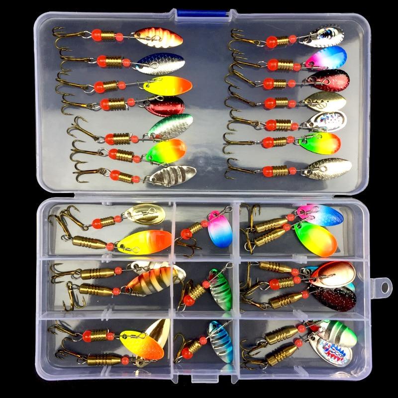 Набор цветных Блесен в коробке, 10 шт., 30 шт., набор металлических аксессуаров с коробкой для рыболовных снастей, большая пресноводная приманк...