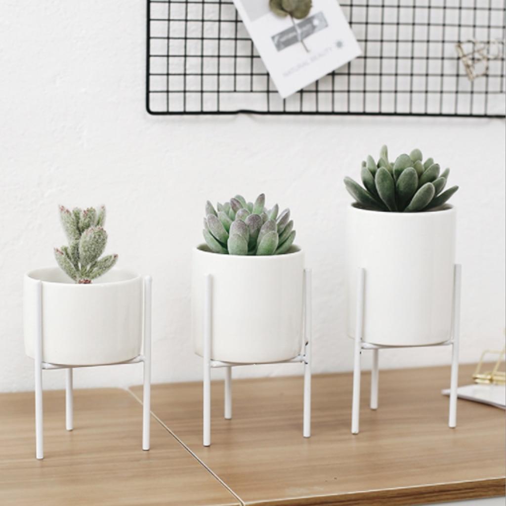 Maceta decorativa de jardín, jarrones artísticos de cerámica de hierro nórdico, marco de florero de mesa Simple, café de cerámica, habitación del hogar