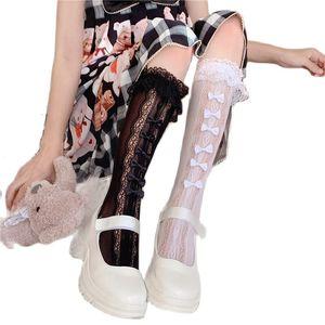 White Black Stockings Lace Bow Lolita stockings pantyhose Japanese School Uniform Girls Vintage For JK dress Lolita skirt