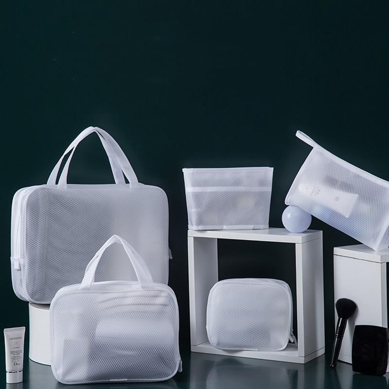 Transparente feminino saco de cosméticos viagem função à prova dwaterproof água caso de maquiagem higiene pessoal beleza lavagem zíper maquiagem organizador malha bolsa