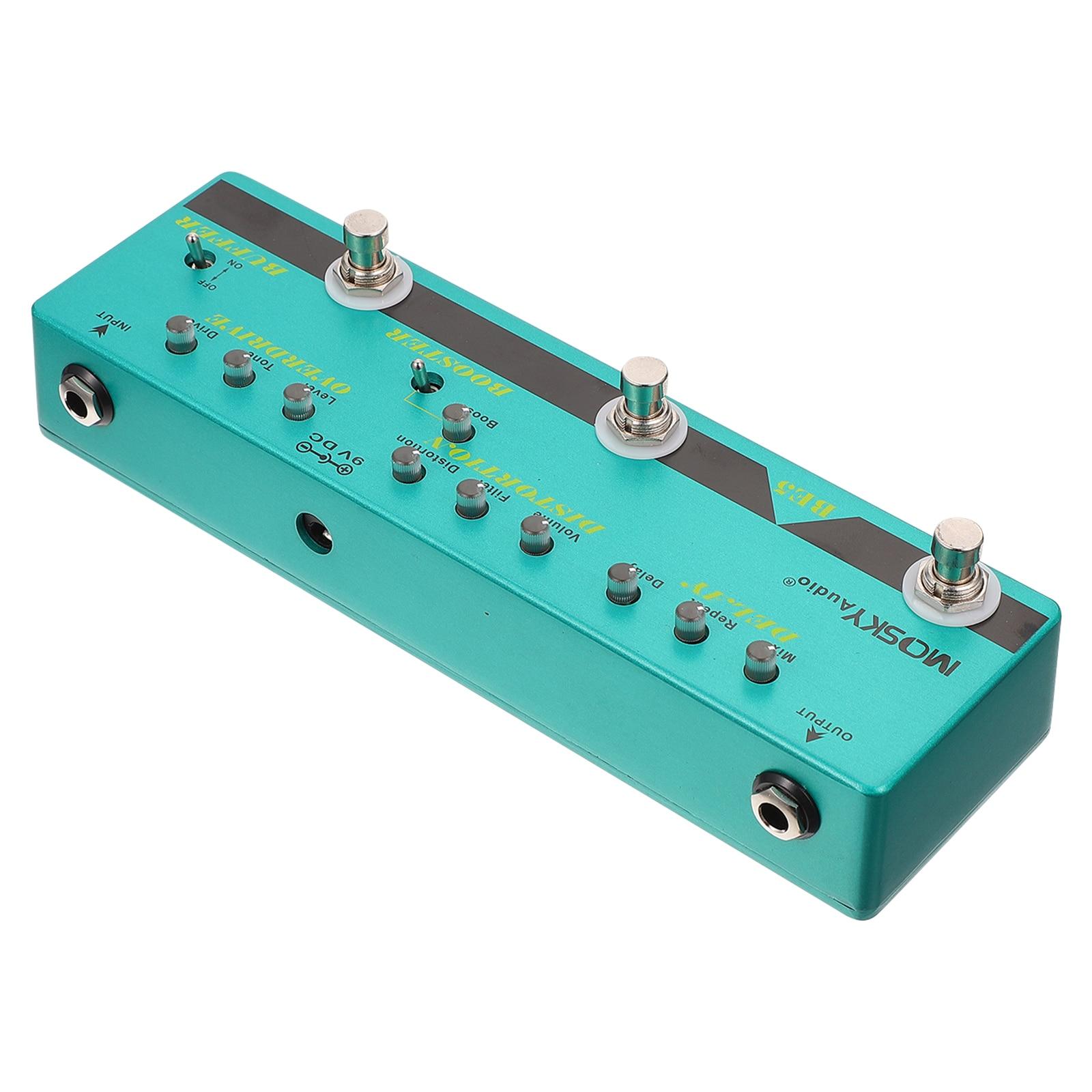 1pc Guitar Effector Guitar All-in-one Effector Mini Guitar Effect Processor (Sky-blue)