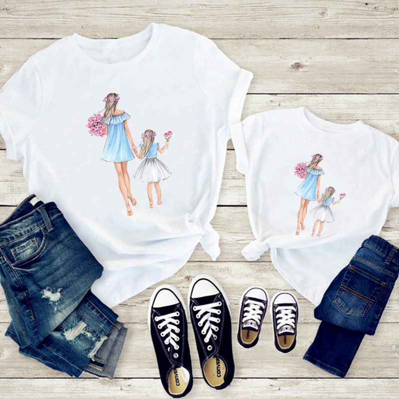 Matching Family Outfits Super Mom and Daughter Print Boys Girls T-shirt Mother's day Present Clothes