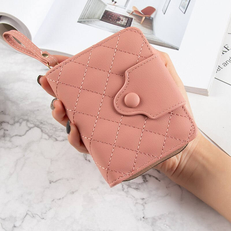 8 Colors Brand Leather women wallets 2021 Short small wallet women Trend Thread kawaii purse Multifunction card holder wallet