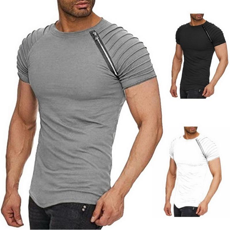 2020 doble T camisa Casual de verano de manga corta con cuello redondo de corte slim fitnessT-camisa cremallera Patchwork falda Hip Hop camiseta