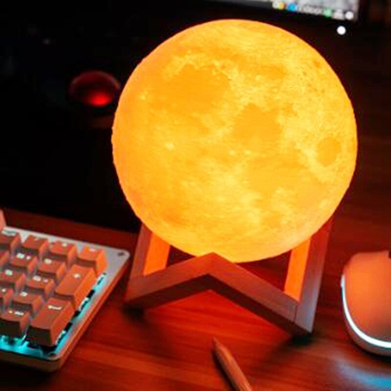 3D Print Moon Lamp Colorful Change Touch Usb Led Night Light Home Decoration LED Dimmable Rechargeab